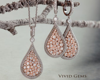 Diamond Cluster Pendant and earring Set, diamond earring, diamond pendant,