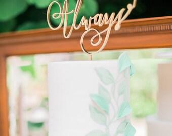 Always Calligraphy Laser Cut Wedding Cake Topper | Gold Wedding Cake Topper | Copper Wedding Cake Topper | Harry Potter Wedding Cake Topper