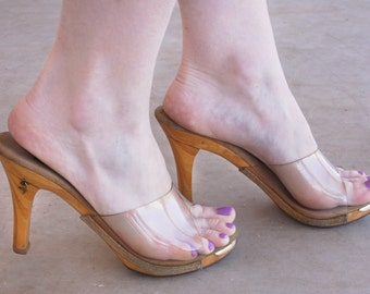 """60's Pinup Clear Wooden 4"""" Platform Heels 
