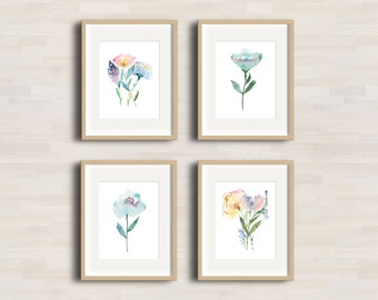 Poppies and Tulip Flowers - Watercolor Art Print - Set of 4