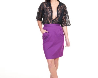 Rad 1980s Liz Claiborne Purple Pencil Skirt