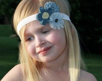 Flower Headband, Girls Bow, Baby Headband, Flower Bow, Baby Bow, Girls Headband, Girls, Bow, Headband, Clip, Blue Flower Bow, Blue