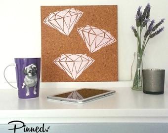 Diamond design pinboard, hand painted cork board, memo board, bulletin board, girls bedroom