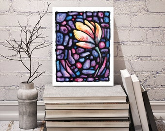 Tulip Print - Yellow Abstract Flower Artwork - Bedroom Art Decor - Wall Hanging - Floral Art Poster - 8 x 10 inch - by Artist Kathy Lycka