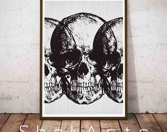 Human Skull Decor, Black Autumn Decor, Boho Skull Print, Sugar Skull Poster, Black Skull Print, Minimalist Halloween, Human Skull Art