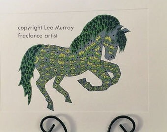 Greeting Card - Spring doodle horse