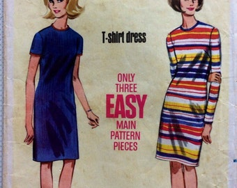 1960s vintage sewing pattern Butterick 4258 Size 16, Bust 36, Waist 28, Hip 38 Mad Men 60s style retro easy sheath dress