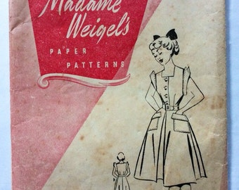1940s vintage sewing pattern Madame Weigel's 1394 Bust 30 Waist 25 retro Mid Century teen sun dress 40s bodice & flared skirt patch pockets