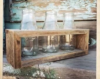 Milk Bottle Vases in Repurposed Wood Stand