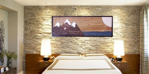 Headboard Wooden Mountain Art Panoramic Wall Art Wood Headboard
