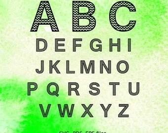 Chevron Letters cutting files, chevron Alphabet svg files,pdf, eps vector files for silhouette, font for cricut, monogram svg, initials A-Z