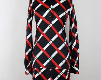 Roberta di Camerino 1977 Trompe l'Oeil Vintage Dress Belt Print Black Red White Size Germany 36 / UK 8 / USA 4