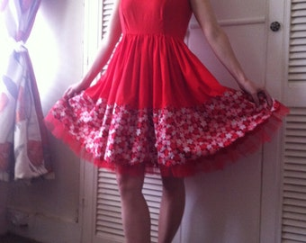 Vintage 60's Red Dress Cherry Blossom