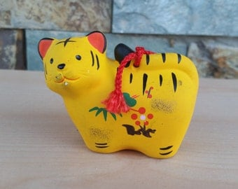 Colorful Yellow Tiger Clay Dorei Bell