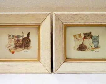 Pair of Small Vintage Kittens Paintings