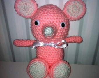 Pink Mouse, Handmade Soft Toy, Crochet Mouse, Amigurumi Mouse, Amigurumi Toy