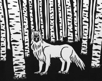 Birch Forest linoleum block print