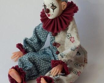 Ooak dolls, clown, art dolls, handmade doll, polymer clay doll