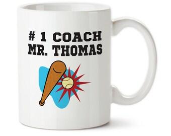 Coffee Mug, Number One Coach, Personalized Coach Mug, Gift For Baseball Coach, Best Coach Ever, Customized Mug, Gifts for coach, Baseball