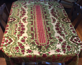 Vintage Italian Antique Cut Velvet Tablecloth Boudoir Tablecloth Stempunk  Decor Retro Tablecloth Italian Tablecloth 70u0027s Decor