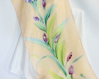 Hand painted silk scarf with purple iris on Champagne color background. Gift for her. Birthday gift. Habotai. 70 x 17 inches