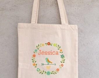 "Tote Bag ""Little bird"" to customize - bag shopping - shopping bag - custom - bag tote bag personalized"