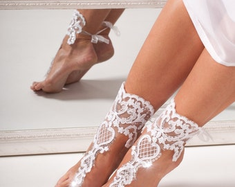 Lace bridal barefoot sandals -Bridal shoes -Wedding shoes -Bridal footless sandals -Beach wedding lace shoes -Bridal accessory -Foot thongs