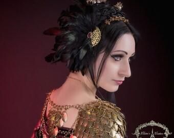 Feather headdress/ valkyrie headdress/ wings headpiece / Tribal fusion / Dark fusion/ Gypsy Headdress/ Burlesque Headdress