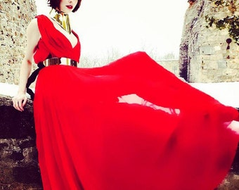 Red Chiffon Gown