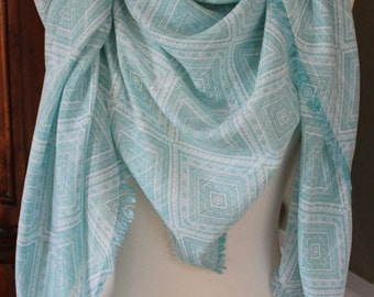 Aqua and White Lightweight Large Scarf