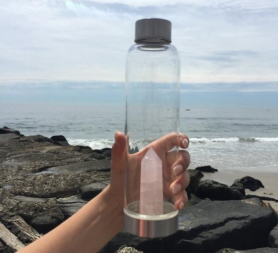 Crystal Water Bottle Rose Quartz