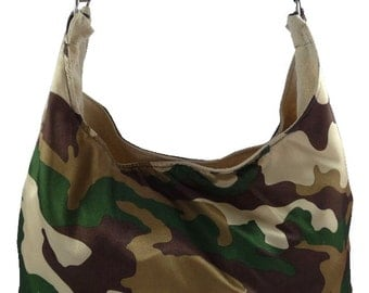 Forest Camo, Slouch Bag, Hobo Bag, Purse with Fixed Strap | Sewn By Tanya