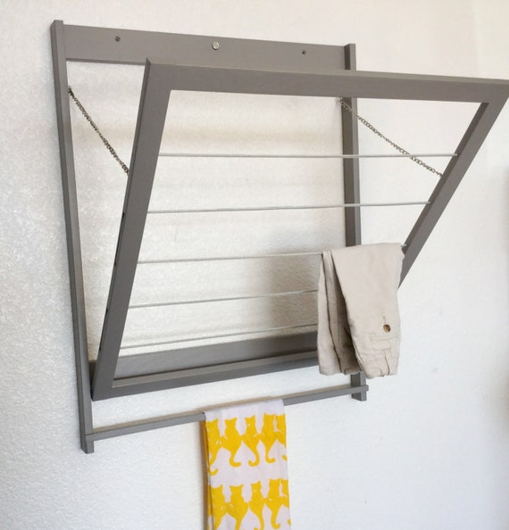 modern laundry drying rack with towel bar clothes by wiredwood. Black Bedroom Furniture Sets. Home Design Ideas