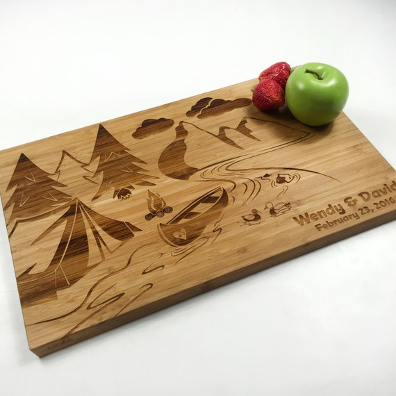 Personalized Country Wedding Gifts: Rustic Cutting Board Personalized Wedding Gift Board Canoe