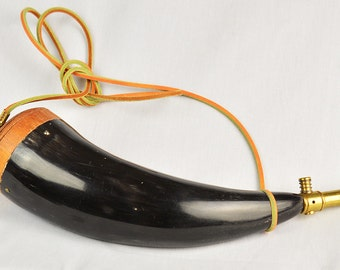 Vintage Powder Horn for Reenactors Made from Real Horn