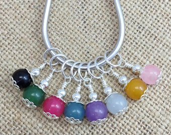 Stitch Markers, Snag Free, Knit Markers, Colourful  Crochet Removable Stitch Markers, Agate Beaded Stitch Marker, Gifts for Knitter
