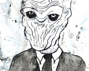 The Silence Doctor Who Villain Handpainted Watercolor Print