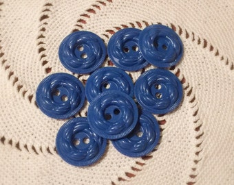 Lot of Blue Plastic Buttons - Blue Sew Through Style Buttons