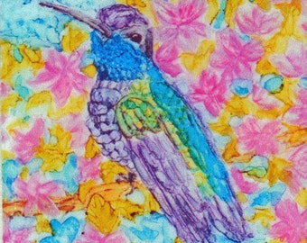 Ceramic Tile Magnet - Hummingbird with Pink Flowers