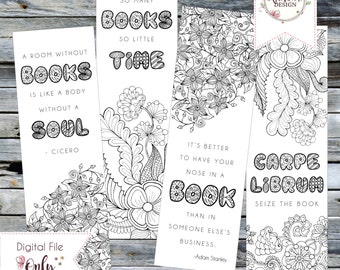 """Adult Coloring BOOK MARK // Set of 4 Literary Themed Printable Bookmarks // 2.5""""x8"""" // Digital Download"""
