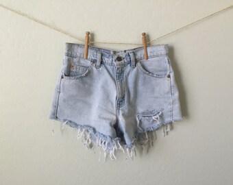 Levi High Waisted Denim Shorts Cut Off Distressed Denim Jean