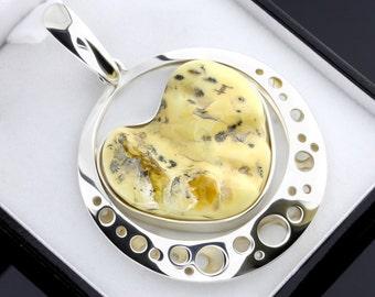 White Amber Gemstone Pendant, Baltic Amber Pendant, Sterling Silver Baltic Amber Pendant, Natural Amber Pendant, White Gemstone Pendant