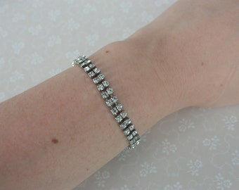 Double Row Crystal Bracelet - Vintage Rhinestone Bracelet - Vintage Tennis Bracelet - Vintage Wedding Bracelet