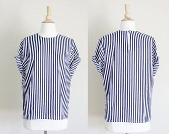 1990s Navy Vertical Striped Oversized Blouse // Medium