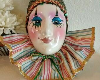 Vintage Porcelain Harlequin Clown Face Wall Decor, Harlequin Clown Decor, Vintage Porcelain Clown Face, Harlequin Face, Harlequin Figure