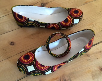 Ballerinas in African fabric (size 38)