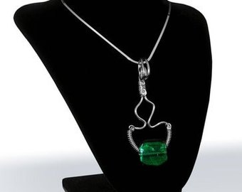 Free Form Wire Wrapped Pendant with Brilliant Green Foil-lined Glass Bead