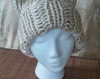 Cream Cat Ears Hat #01009