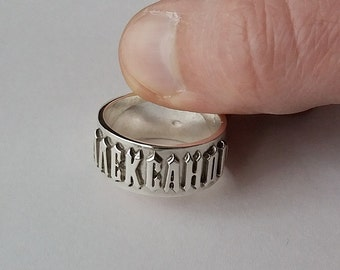 Ring with your name custom personalized mens womens 925 sterling silver letters Alexander words latin cyrillic