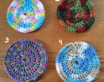 Multi-colored Circular Crocheted Coasters - Set of Four